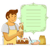 Man making a cake. Cartoon man making a cake next to a decorated frame Stock Photo