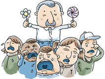 Man Making Children Cry. Cartoon man making children cry despite his best efforts Stock Image