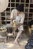 The man making clay pot. Chiang Mai, Thailand - April 13, 2016:  The man making clay pot at the ancient lanna house 140 years in water festival 2016 Royalty Free Stock Images