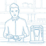 Man making coffee vector sketch illustration. Royalty Free Stock Image