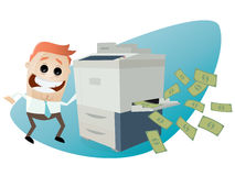 Man making copies of bank notes. Funny comic man making copies of bank notes vector illustration