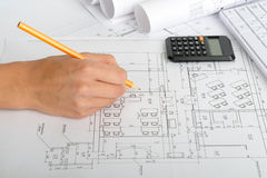 Man making draft plan Stock Images