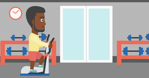 Man making exercises. An african-american man exercising on a elliptical machine in the gym vector flat design illustration. Horizontal layout Stock Image