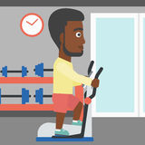 Man making exercises. An african-american man exercising on a elliptical machine in the gym vector flat design illustration. Square layout Royalty Free Stock Images