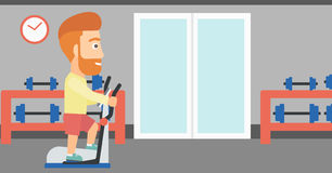 Man making exercises. A hipster man with the beard exercising on a elliptical machine in the gym vector flat design illustration. Horizontal layout Royalty Free Stock Image