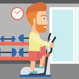 Man making exercises. A hipster man with the beard exercising on a elliptical machine in the gym vector flat design illustration. Square layout Stock Images
