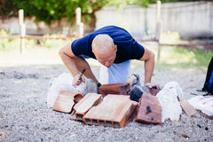 Man making fire for BBQ Royalty Free Stock Photography