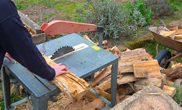 Man making firewood with buzz saw. In the garden Royalty Free Stock Images