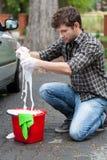 Man making foam Royalty Free Stock Photos
