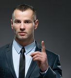 Man making forefinger gesture Stock Photo