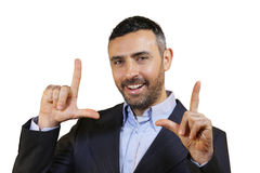 Man making a frame gesture with his fingers Royalty Free Stock Photos