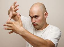 Man making frame with his hands Stock Image