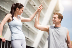 Man making gesture of high five Stock Photos