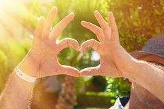 Man making a heart with his hands Royalty Free Stock Image