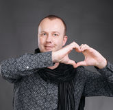Man making heart sign Royalty Free Stock Images