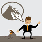 Man making a mountain out of a molehill Stock Photos