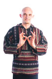 Man making padma mudra gesture Stock Images