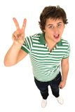 Man Making Peace Sign Stock Photo