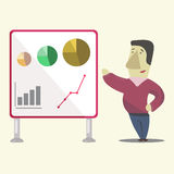 Man making a presentation. Manager making project presentation. Graphs and results Royalty Free Stock Image