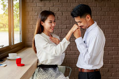 Man making proposal of marriage to his girlfriend, Love and marr Royalty Free Stock Photos