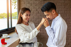 Man making proposal of marriage to his girlfriend, Love and marr Stock Photos