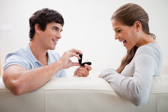 Man making a proposal to his girlfriend Royalty Free Stock Photo