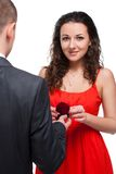 Man making a proposal to his girlfriend Royalty Free Stock Photos