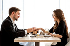 Man making proposal to his girlfriend at the Stock Images