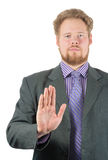 Man making refusal sign. Man in lounge suit making refusal sign Stock Photography