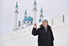 Man making selfie in Kazan, Russia Royalty Free Stock Image