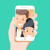 Man making selfie. Picture of best friends making selfie on mobile or smart phone while spending free time. People Group Taking Selfie Photo Hipster Friends Royalty Free Stock Images