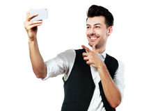 Man making selfie Stock Photography