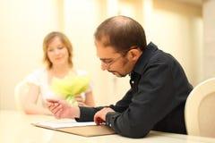 Man Making Sign On Wedding Documents Royalty Free Stock Photo