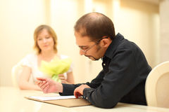 Man making sign on wedding documents Royalty Free Stock Photo