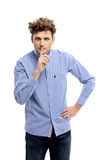 Man making silence gesture Royalty Free Stock Images