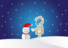 Man making a snowman in cartoon style, christmas background Royalty Free Stock Images