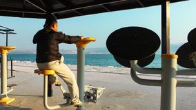 Man Making Sport Training near the Seaside for Fit and Healthy Life stock footage
