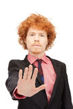 Man making stop gesture Stock Images