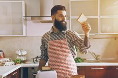 man making toasts for morning breakfast Stock Photography