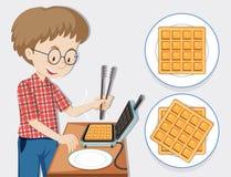 Man making waffle with waffle maker. Illustration Royalty Free Stock Photo