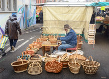 Man making wicker baskets Royalty Free Stock Photography