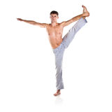 Man is making yoga Stock Image