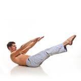 Man is making yoga Stock Photo