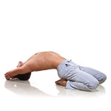 Man is making yoga Stock Images