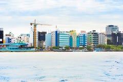 MAN MALDIVERNA - NOVEMBER 18, 2016: Sikt av staden av mannen fotografering för bildbyråer