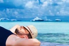 Man at Maldives Royalty Free Stock Photo