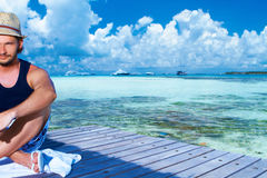 Man at Maldives Royalty Free Stock Photos