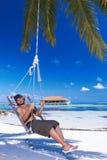 Man at Maldives Stock Image