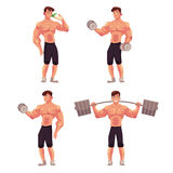 Man, male bodybuilder, weightlifter working out with barbell and dumbbell Stock Photo