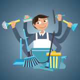 Man male cleaning service house office cleaner tools  wipe garbage container janitor brush spray Royalty Free Stock Photos
